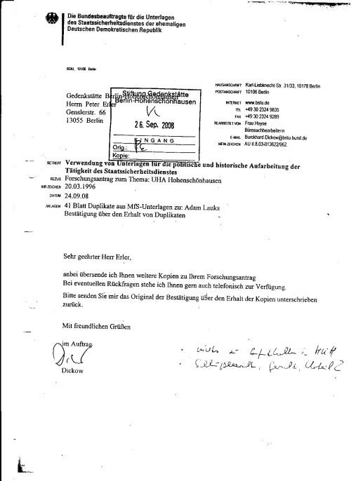 Vor der Gedenkstätte  Berlin Hohenschönhausen wurde ich noch 26.Sept.2008 verleumdet - von der Gauck Behörde