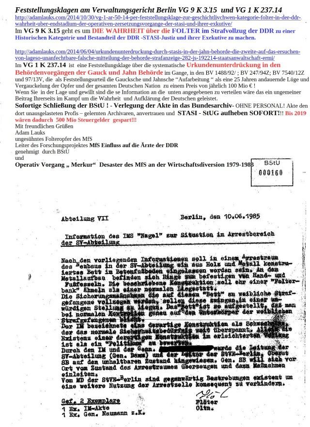 Ich stand allein  am 17.1.15 von 11.-18.30 vor Mielkes Ministerium mit meinem Plakat und verteilte an Interessierte  500 Flyer...Gegen die Lügen die seit 25 Gauck Behörde nach Belieben verbreitet,