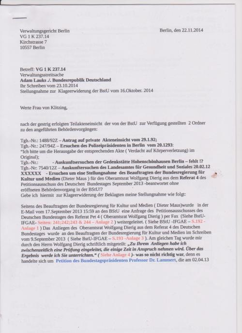 Stellungnahme des ungesühnten Folteropfers Adam Lauks auf die Klageerwiderung des BStU u