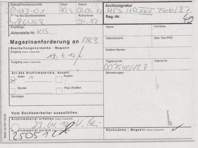 Auch die Akte mit der Signatur MfS HA XXII 266/37  betrifft nicht  meine Haftzeit - Hat mit dieser Anfrage des LAGeSo nichts zu tun.
