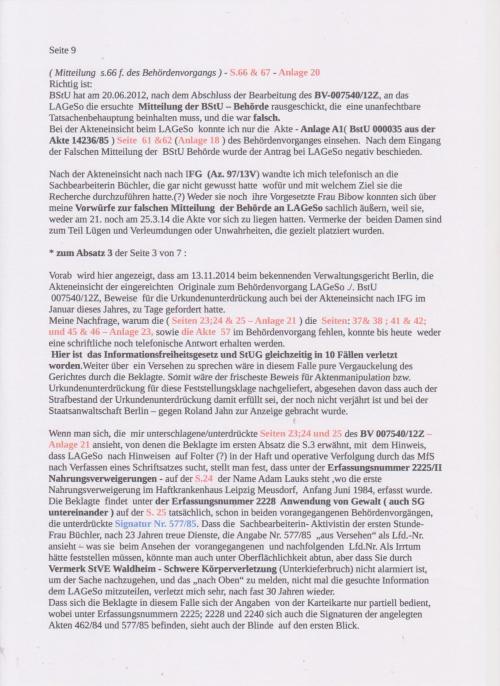 Stellungnahme des ungesühnten Folteropfers Adam Lauks auf die Klageerwiderung des BStU S.9