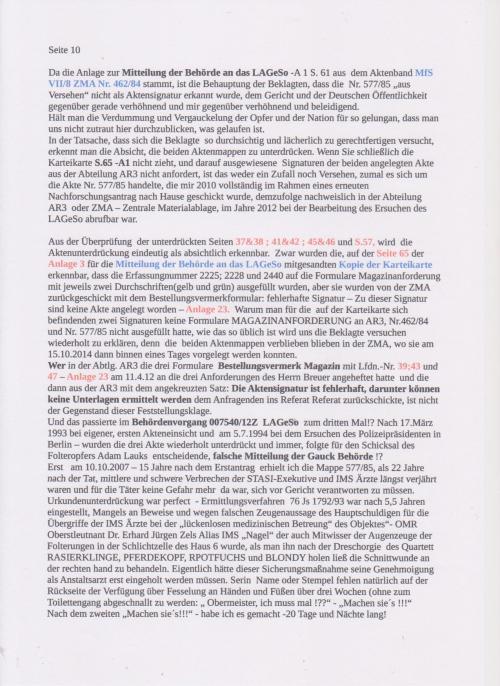 Stellungnahme des ungesühnten Folteropfers Adam Lauks auf die Klageerwiderung des BStU S. 10