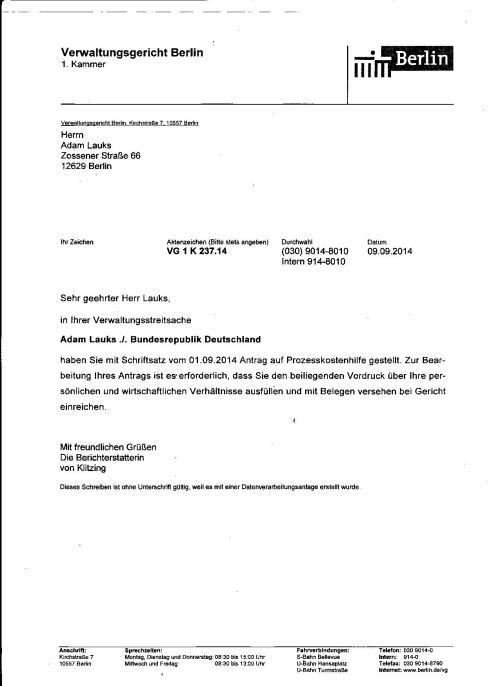 In Ihrer Verwaltungsstreitsache Adam Lauks ./. Bundesrepublik Deutschland....