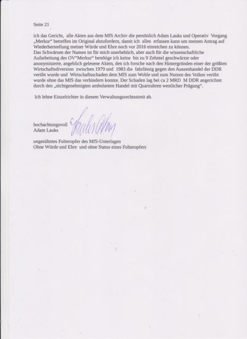 Stellungnahme des ungesühnten Folteropfers Adam Lauks auf die Klageerwiderung des BStU S.21