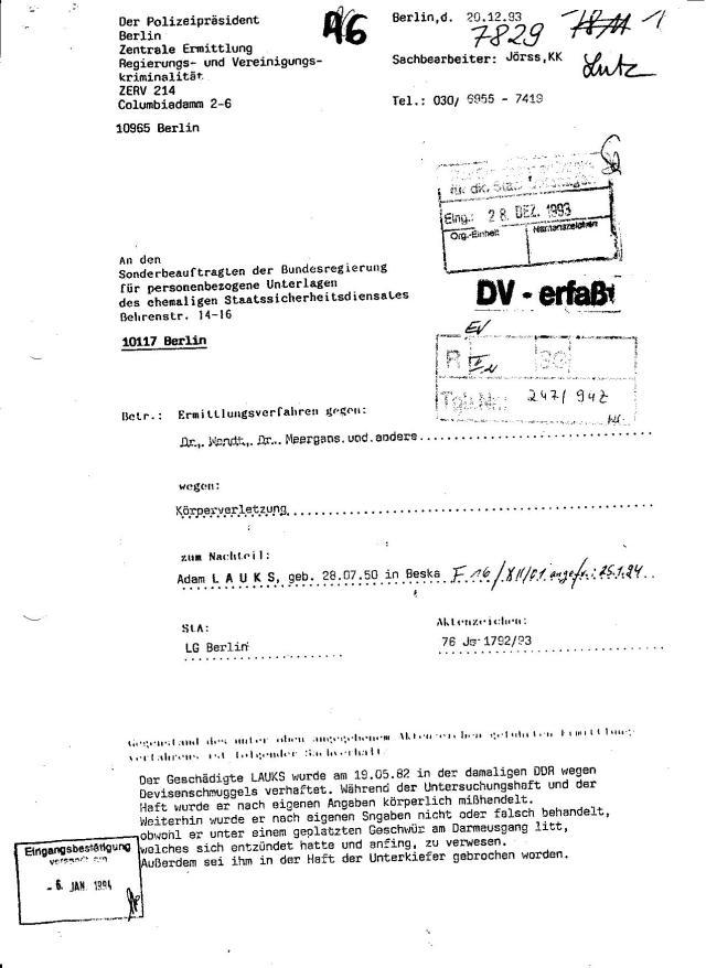VG 1 K 237.14  Anlage  A6 - Ersuchen des Polizeipräsidenten 001