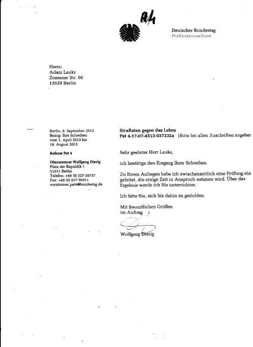 Wolfgang Dierig unterdrückte, und führt die zwei gleichlautende Petitionen gegen Gauck und aseine Behörde am Untersuchungsausschuss vorbei, mit einer Svchein Prüfung und nützt BKM dazu aus !