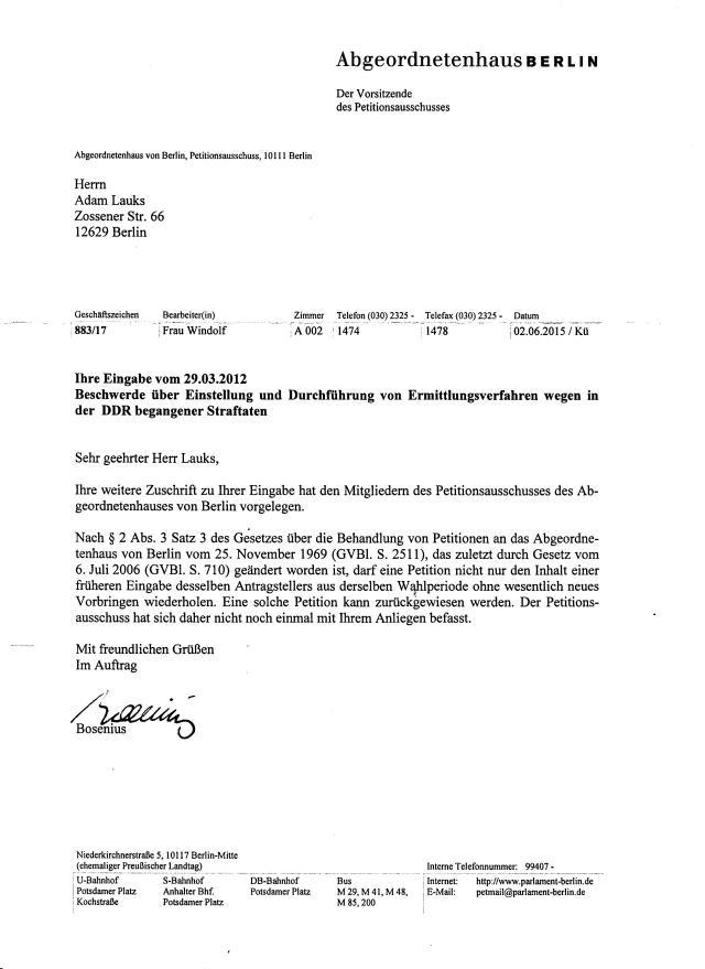 Wie viele Juristen sind im Abgeordnetenhaus Berlin!? Wieviwele Richter? Wieviele Staatsanwälte a.d.? ... und keiner erkennt hier eine falseche eidesstattliche  Versicherung eines wehemaligen Angehörigen des MfS, der STASI !??  DAS kann ich nicht glauben!