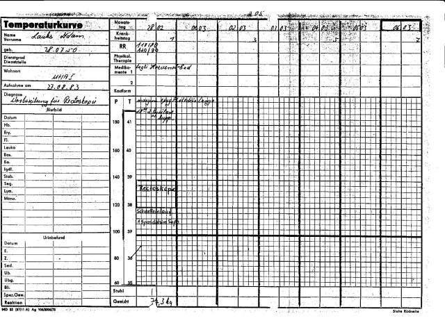 Wenn ich am 27.2.1983 aufgenommen wäre im H 8 dann würde die Temperaturkarte mit dem 27.2.83 beginnen müssen. DA sieht man wie man für Übergriffe der IM Ärzte die Papiere schön zurecht legen konnte. Es zeichnezte sich keine Recktoskopie im Haus 8 ab; man wartete auf den nächsten Termin in der Charite !