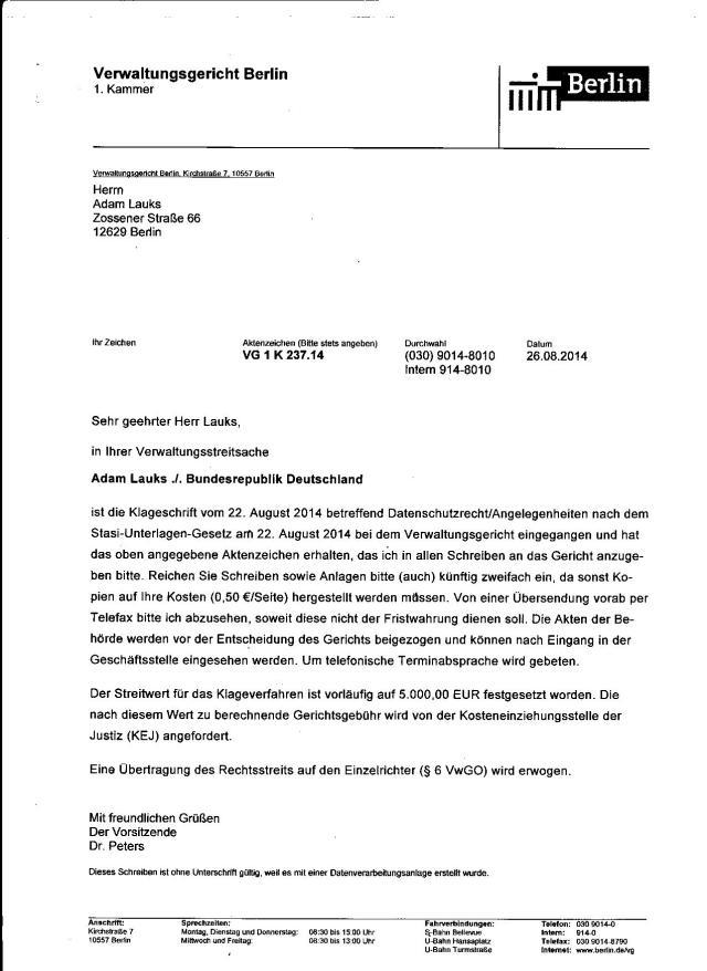 VG 1 K 237/14 Gegen  den BStU wegen Urkundenunterdrückung,Aktenmanipulation, Falsche Mitteilung der Behörde  im Behördenvorgang LAGeSo - BStU