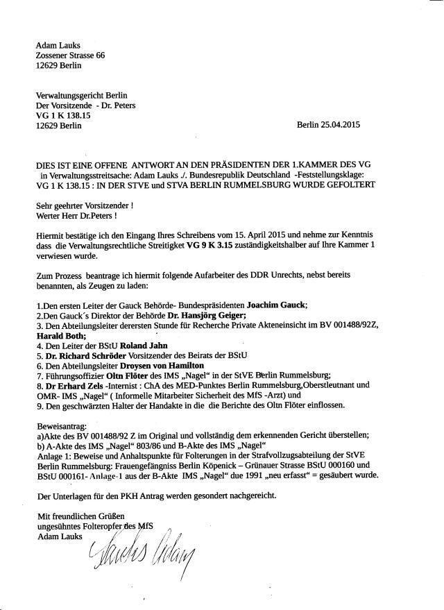 DIES IST EINE OFFENE ANTWORT AN DEN  VORSITZENDEN DER !: KAMMER DES VG BERLIN Dr.Peters