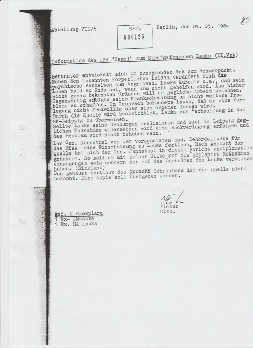 """IMS """"Pit"""" - Oberstleutnant Peter Janata wurde 1982 zum obersten Medizinmann des MdI Verwaltung Strafvollzug der DDR"""