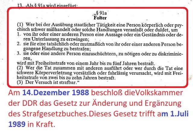 FOLTER im StGB der DDR  vom 1.Juli 1989 bis 4.10.1990
