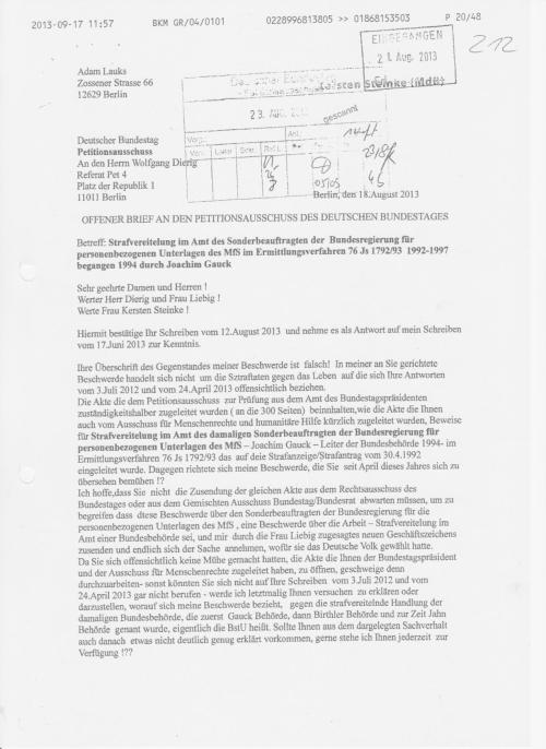 Kersten Steinke hat von Petitionen NICHTS gewusst ! WER ist oberamtsrat Wolfgang Dierig der am Petitionsausschuss Prüfungen durchführt!??