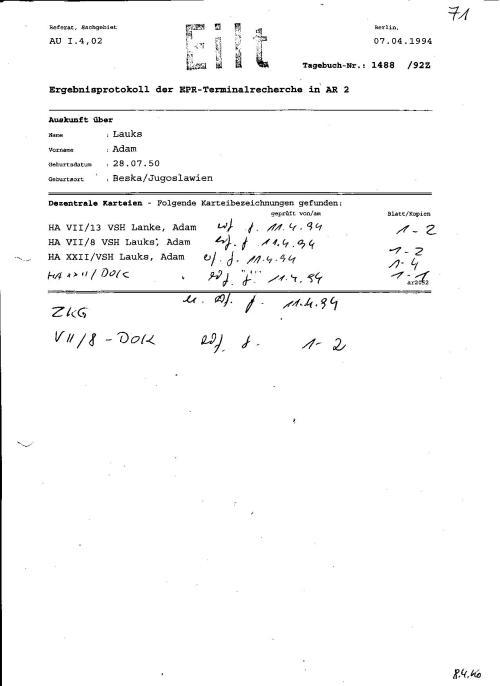 Ergebnisprotokoll der EPR-Terminalbereiche in AR 2 ( Abteilung Karteikarten)