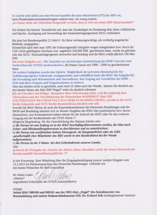 Betr. Urkundenunterdrückung von weiteren Beweisen für Folter im Frauengefängnis Berlin-Köpenick durch die BStU durch mutwillige Schwärzung des Namens des Halters der Handakte eines hohen MfS Offiziers unter der Mißachtung dews STASI-Unterlagengesetzes. Täterschutz im Verzug !?