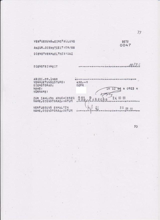 Feliks Dzierzynski kam am 30.08.88 auf die Lohnliste des MfS