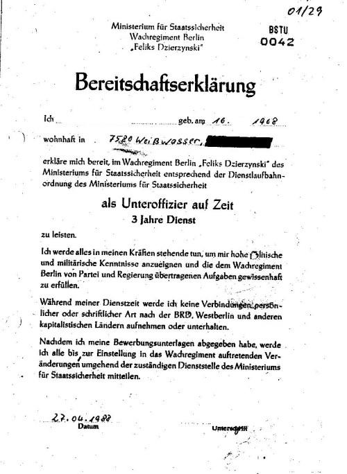 Die zur Akte gereichte Bereitschaftserklärung vom 27.April 1988 enthält lediglich eine Art