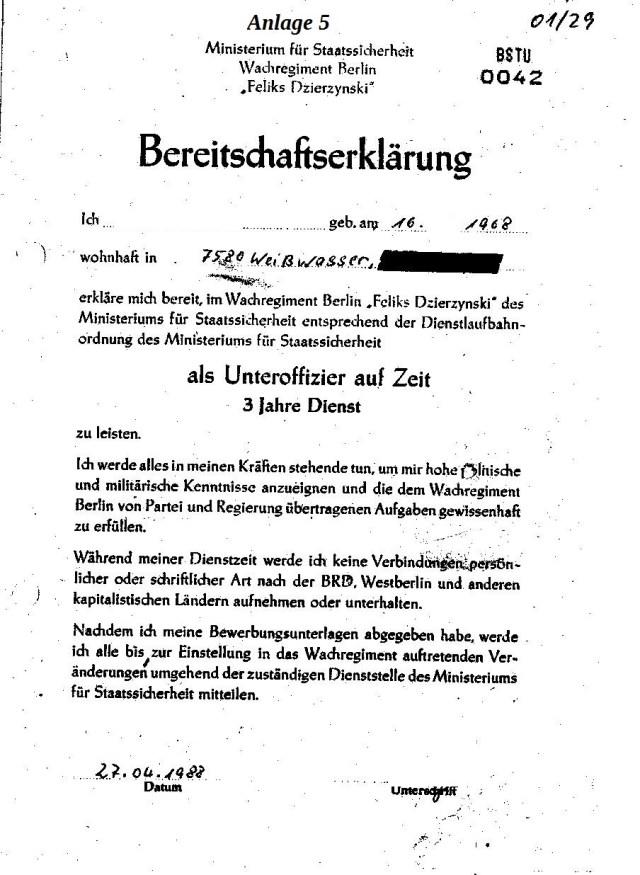 Ich Dzierzynski Feliks erkläre mich bereit, im Wachregiment Berlin