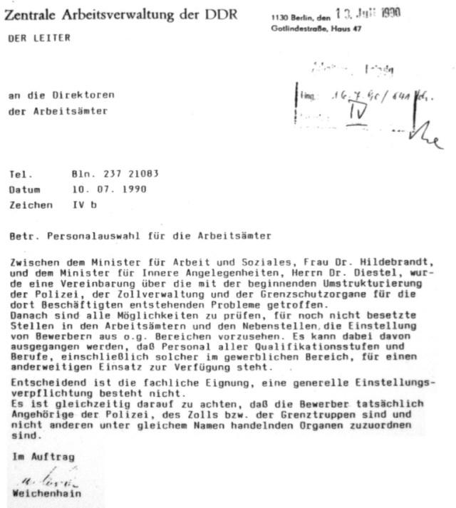 Minister Diestel an Regine Hildebrand