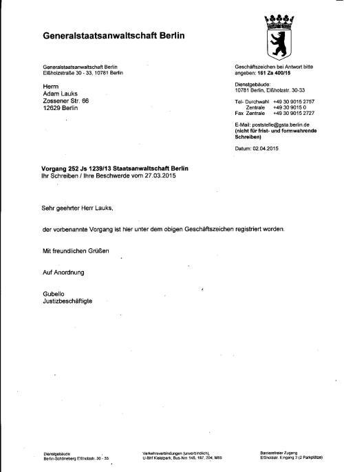 Generalstaatsanwalt Reiff waltet seoines Amtes und lässt gegen die Saatsaanwältin aber auch gegen den Richter Mauck ermitteln!?
