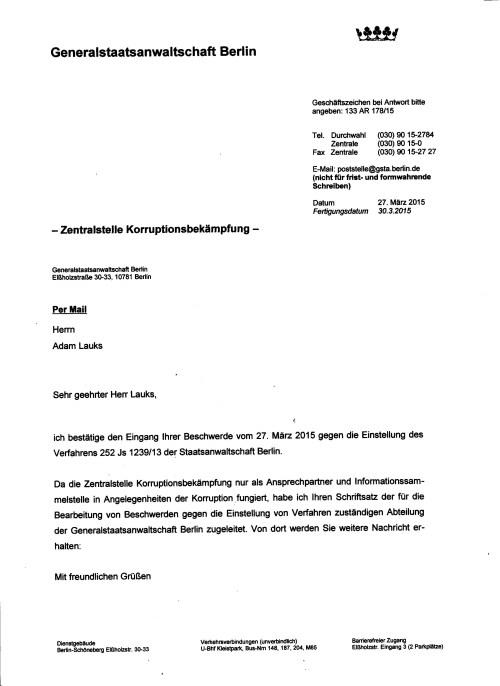 Dank des ungesühnten Folteropfer der STASI an den Leitenden GenStA Dr. Reiff dafür, dass er das Ermittlungsverfahren nicht auf fast zwei Jahren hinausgezögert, wie das die Staatsanwältin Mißmann-Kovch es getan hatte.
