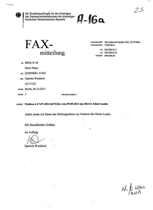 Fax-Mitteilung BETREFF(Falsch) Petition 4-17-4513-037232a vom 09.09.2013 des Herrn Adam Lauks - gab es nicht!