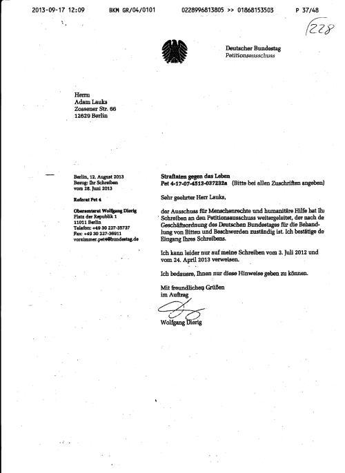 Die Nachricht über den Eingang derPetition des Bundestagspräsidenten Lammert vom 2.4.13  wurde per Fax nicht an die BStU übermittelt. Hätten die STASIS in der BStU anders treagiert !?