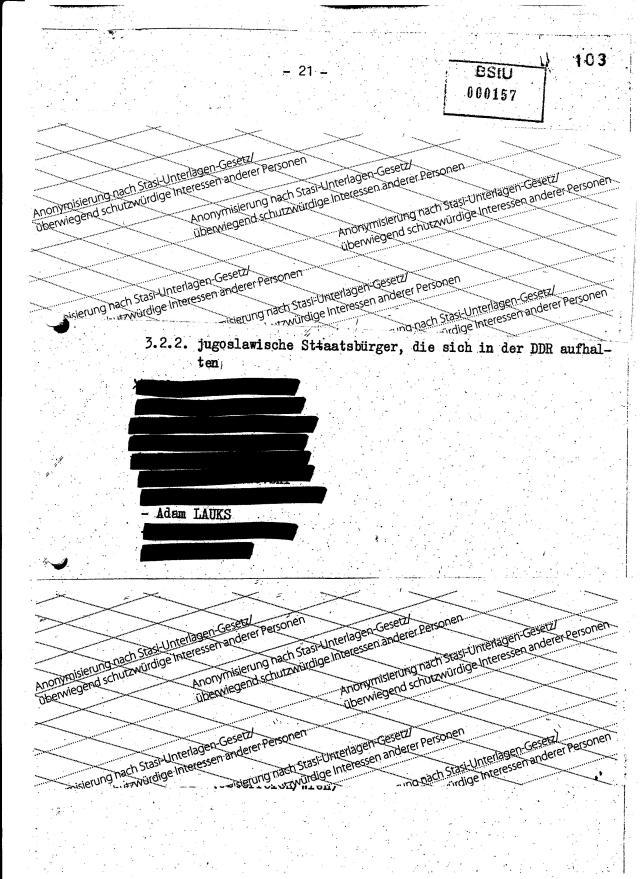 Die Seite 21 eines Vernehmungsprotokolls die entweder von Niko Sandro oder von Todor Angelov stammen muss. Wer von den beiden es auch gewesen sein soll, hatte ein langes Lied gesungen. Dementsprechend muss die Drohung und Einschüchterung des MfS Vernehmers gewesen sein.
