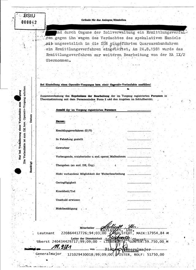...wegen des Verdachtes des spekulativen Handels mit ungesetzlich in die DDR eingeführten Quarzzarmbanduhren...