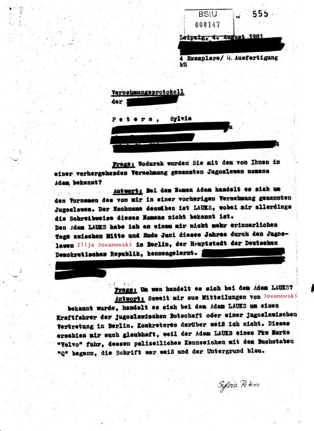 4.8.1981: Frage: Wodurch wurden Sie mit dem von Ihnen in einer vorhergehenden Vernehmung genannten Jugoslawem namens Adam bekannt ?