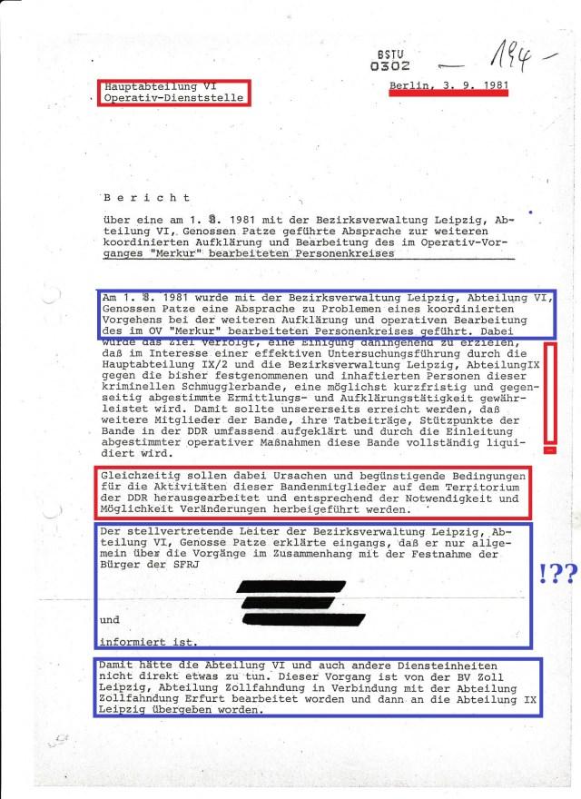 3.9.1981 B e r i c h t : Eigentlich ist das eine Pleiteerklärung und Verschleierung der eigenen Unfähigkeit die im OV