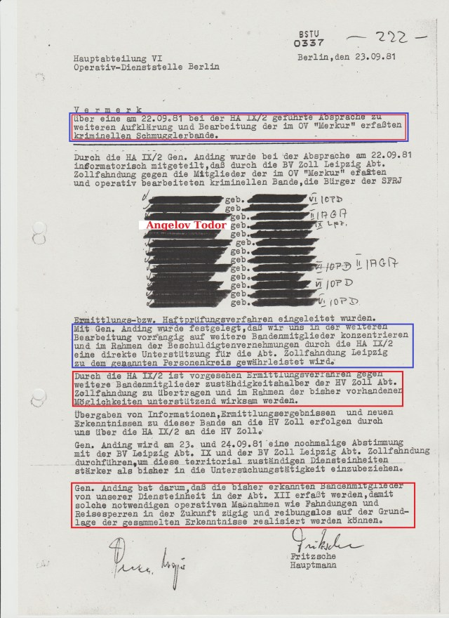 Durch die HA IX/2 Genossen Anding wurde bei der Absprache am 22.09.81 informatorisch mitgeteilt, daß durch die BV Zoll Leipzig Abt.Zollfahndung gegen die Mitglieder der im OV