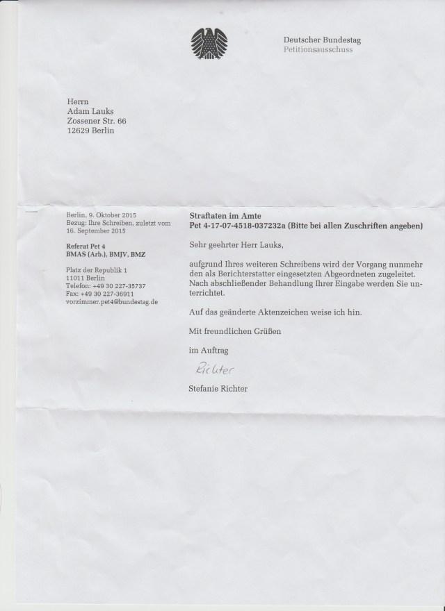 Das Aktenzeichen der ersten Petition vom 2.4.2013 die unterdrückt und ausmanipuliert wurde mit unterstützung des Roland Jahns und der BStU ist geblieben: Pet 4-17-07-4518-037232a ?
