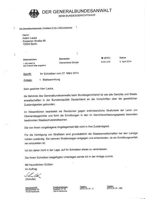Generalbundesanwalr Harald Range weist die Ermittlungen wegen Angriff auf parlamentarische demokratie des Rechtsstaates (von innen) aus dem Petitionsausschuss heraus , und gegen die systematische Urkundenunterdrückung in der BStU in 4 Fällen gegen Roland Jahn !? Die Urkundenunterdrückungen würden nicht unter Statsschutzstrafsachen fallen !?? - wage ich zu bezweifeln.