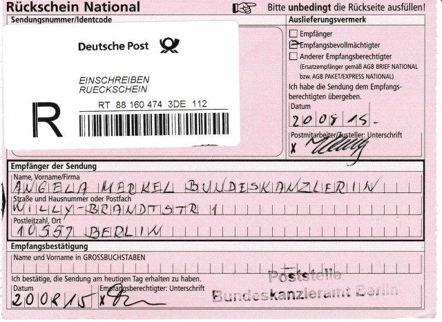 Merkel, Grüters und Fritsche erhielten mein Schreiben per Einschreiben mit Rückschein Wird es einer der angeschriebenen herablassen oder wagen das Thema Urkundenunterdrückungen von Gauck - Birthler und Jahn anzufassen !?? Ich glaube nicht.
