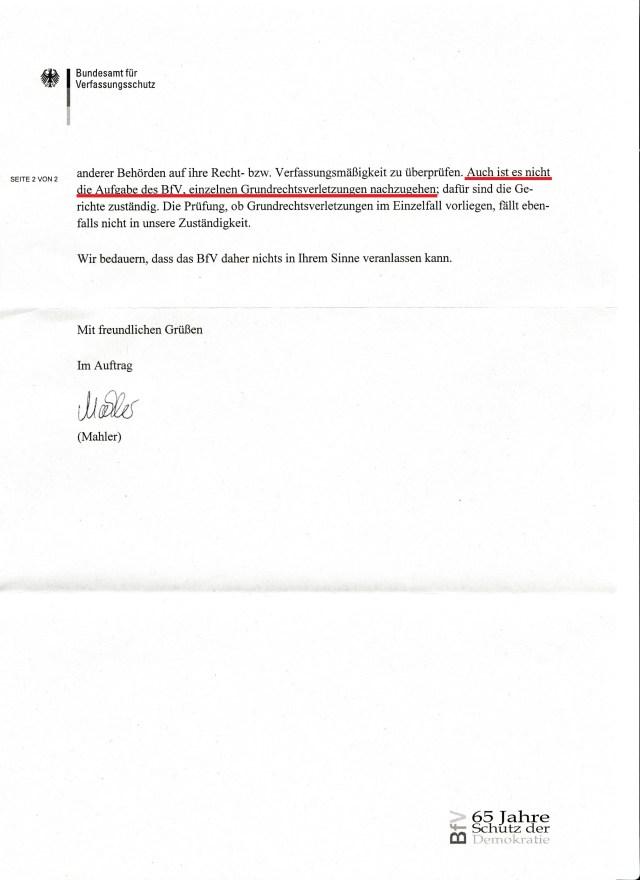 Meine Anfrage die den BfV betraf und interessieren müsste war: 1. Urkunden-bzw. Petitionsunterdrückung im Referat 4 des Deutschen Bundestages; 2. Ist der ehemalige STASI-Mitarbeiter als V-Mann eines der Geheimdienste als RA - Organ der Rechtspflege unterwegs!?