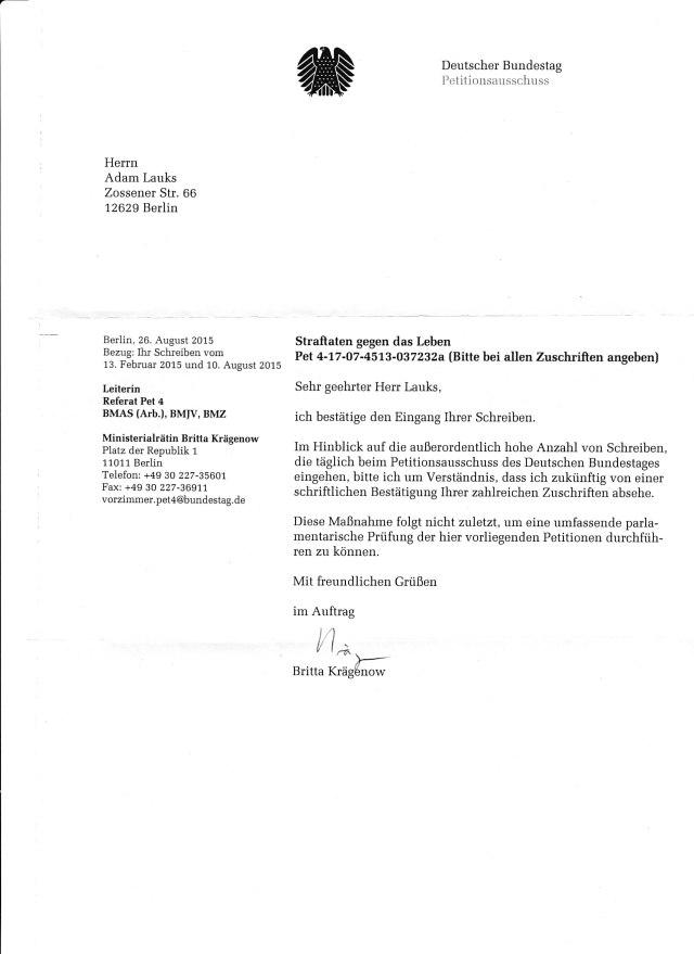 """""""Eingangsbestätigung"""" -Wiederholte Petitionsunterdrückung im Verzug"""