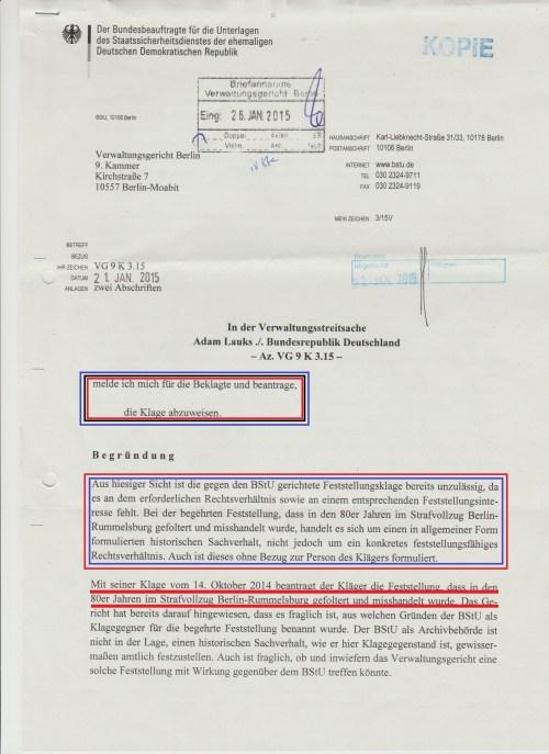 Jahn Behörde leugnet das Feststellungsinteresse an geschichtlichen Aufarbeitung der FOLTER im Strafvollzug der DDR!?