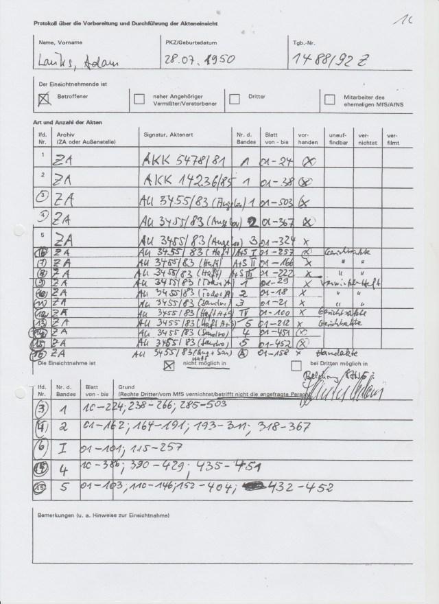 BV 001488.92  BStU Akte Lauks Akteneinsicht 100