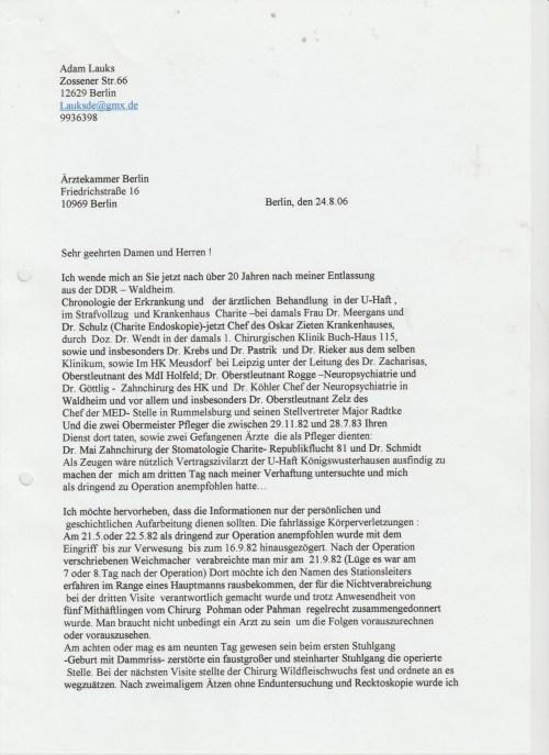 """""""Ich wende mich an Sie jetzt, 20 Jahren nach meiner Entlassung aus DDR -Waldheim."""