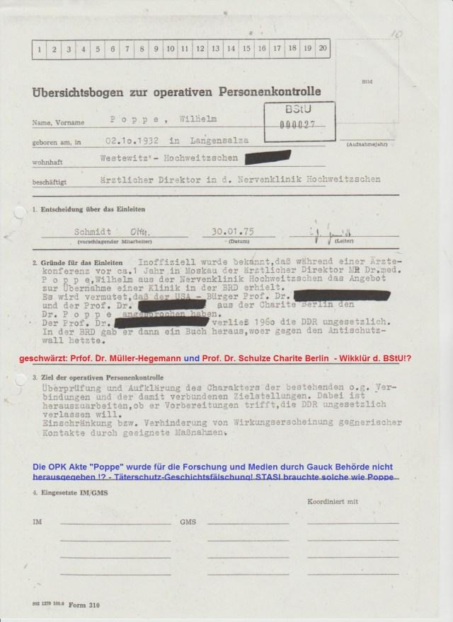 """Die OPK """"Poppe"""" und auch die Akte des IM-Vorgang """"Poppe"""" wurde  durch die BStU auch nach 41 Jahren nicht herausgegeben zu Forschungszwecken !?"""