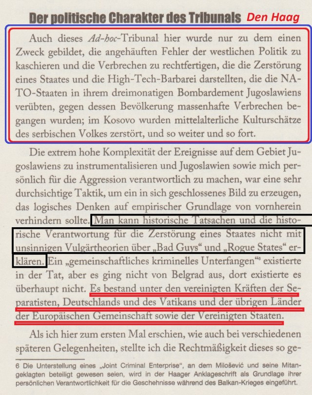Das Haager Tribunal zu Milosevic