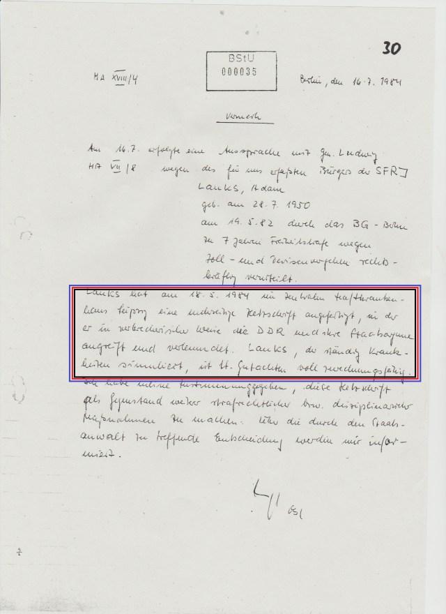 Dr. Mengele ´s IMS Bericht/Vermerk