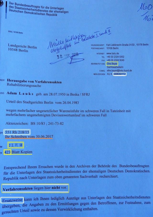 551 Rh 21816  - LÜGE DER BSTU -Sektion BND