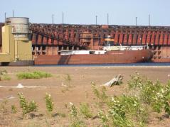 Ship at Marquette Ore Docks in Presque Isle Harbor