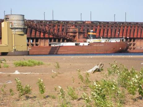 Ship at Marquette Ore Docks in Presque Isle Harbor