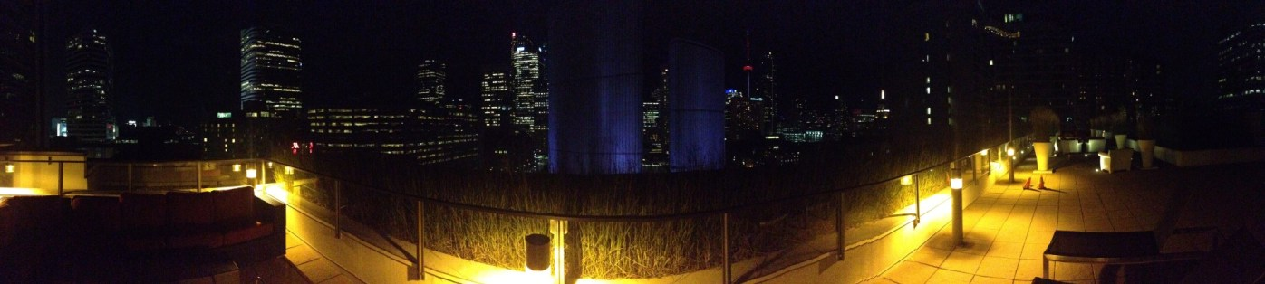 Panorama from roof of condo at night