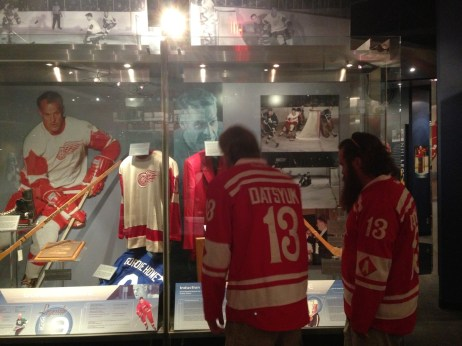 Jon and Dan at the Gordie Howe exhibit in the Hockey Hall of Fame