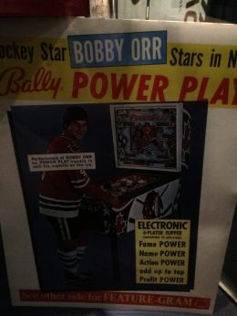 Bobby Orr in Bally's Power Play pinball game advertisement