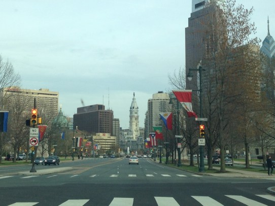 View heading towards Philadelphia City Hall